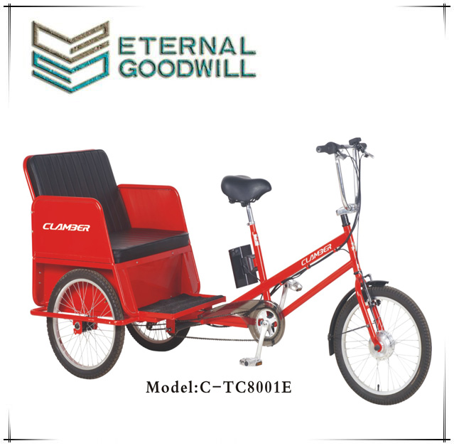Fashionable Electric pedicab rickshaw open body TC8001E with 20 inch three wheel tricycle/bicycle/trike for passenger