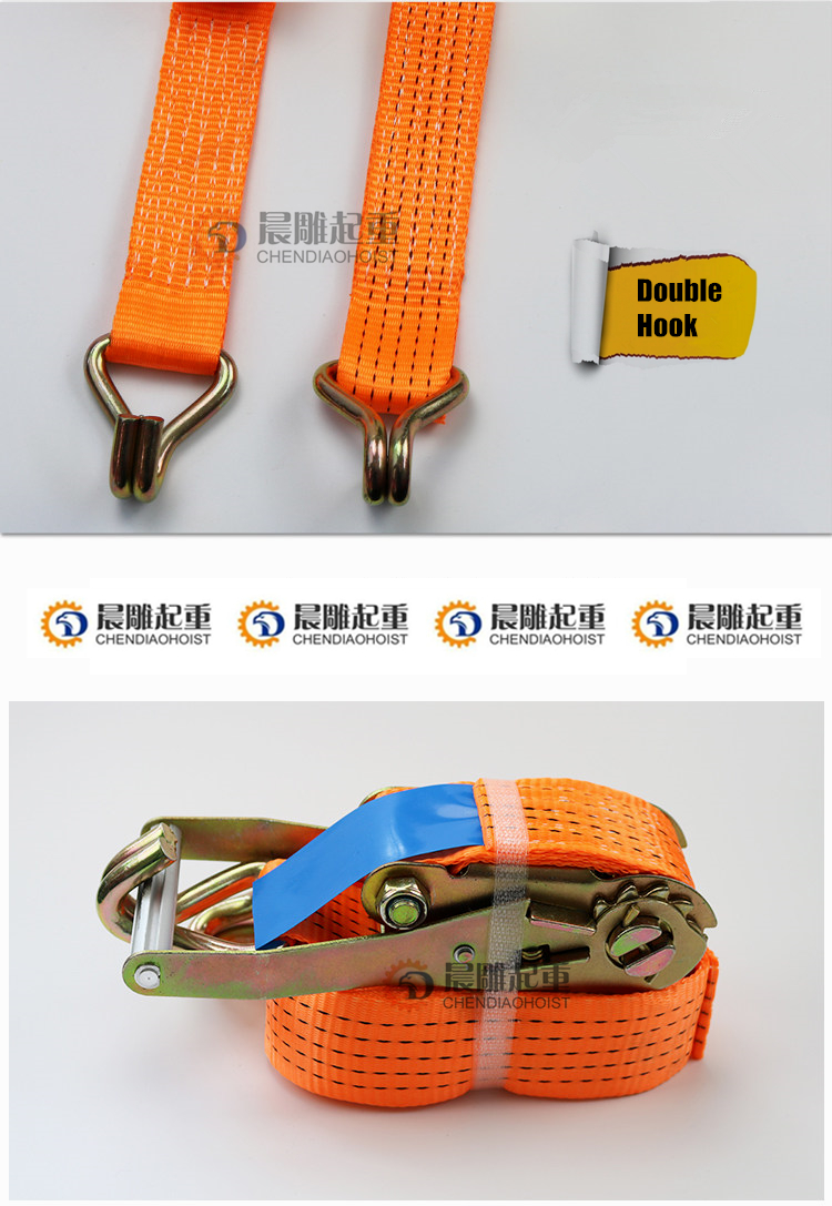 CE certificate 2inch 5T 5m 6m 8m 10m 15m Cargo lashing belt with double J hook for cargo control