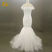 African Off Shoulder Cap Sleeve Low Back Appliques Real Sample Mermaid Wedding Dress
