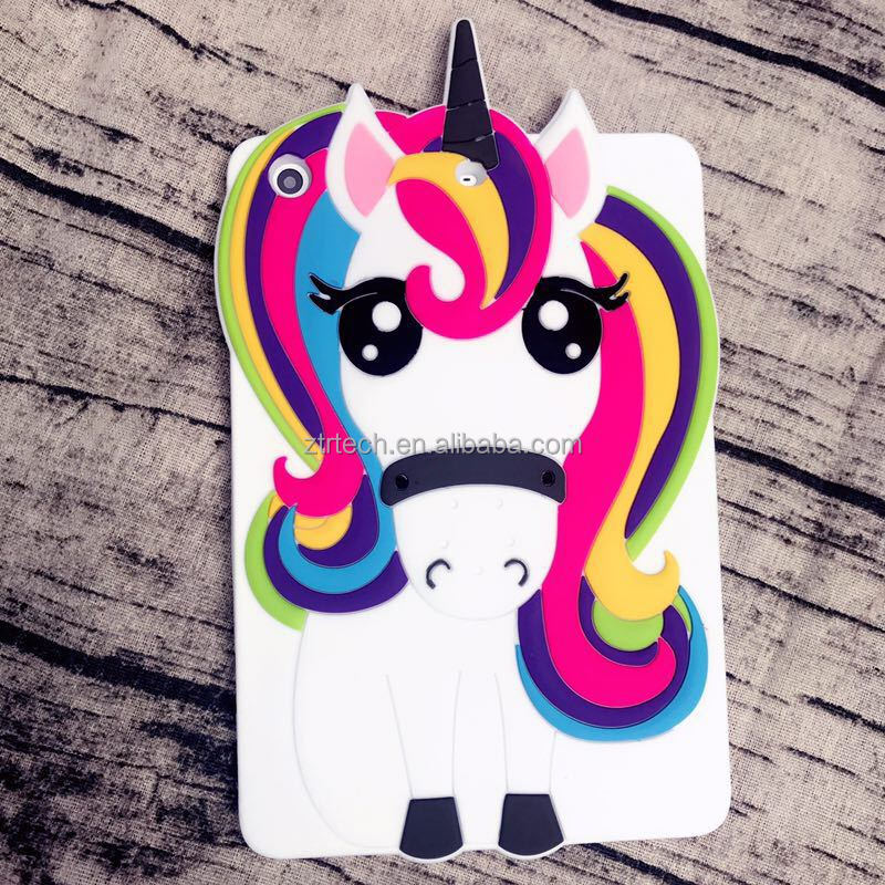 Colorful 3d Unicorn silicone case for ipad pro9.7 Shockproof Unicorn tab cases for ipad mini rubber cover