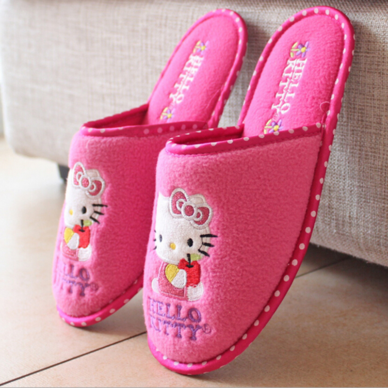High quality fashion women slippers cute hello kitty cartoon slippers woman indoor slipper flat shoes