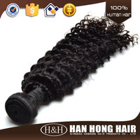 Wholesale instock curly brazilian hair extension,deep wave human hair ,natural color curly supreme hair weave