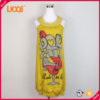 2016 New fashion design sleeveless yellow color summer sexy lady blouse & top