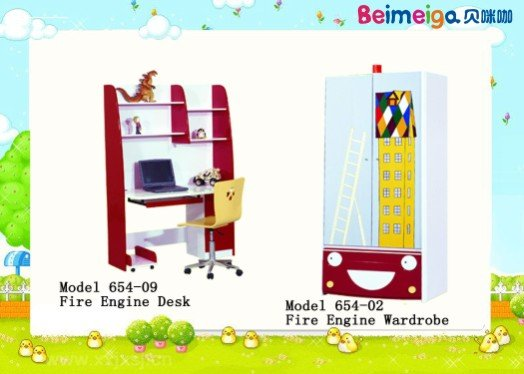 Fire Engine kids writing light computer desk/children computer desk 654-09