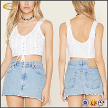 Ecoach 2016 Scoop Neckline Back Design Lace-up Front White 100% Cotton Ladies Crop Tops