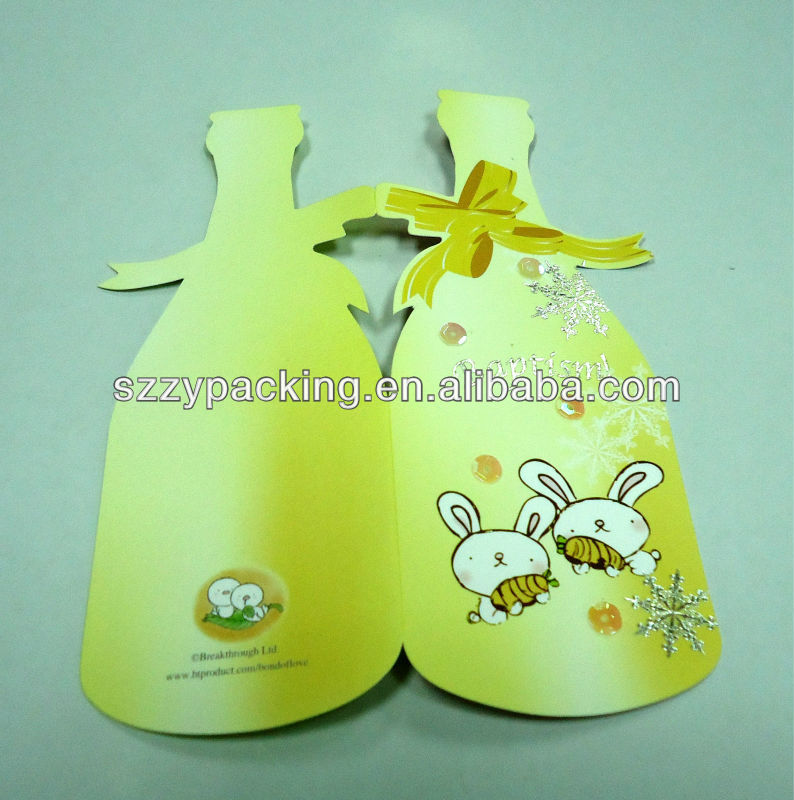 bottle shape fold baptism invitation card