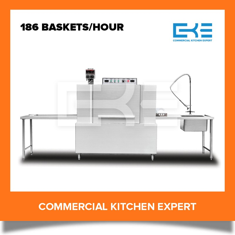 186 Baskets each Hour Tunnel Type Competitive Prices Commercial Restaurant Dish Washing Machine