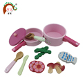 Wooden children mini kitchen pan toy set