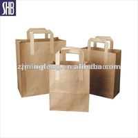high quality brown kraft paper bag with flat handle wholesale
