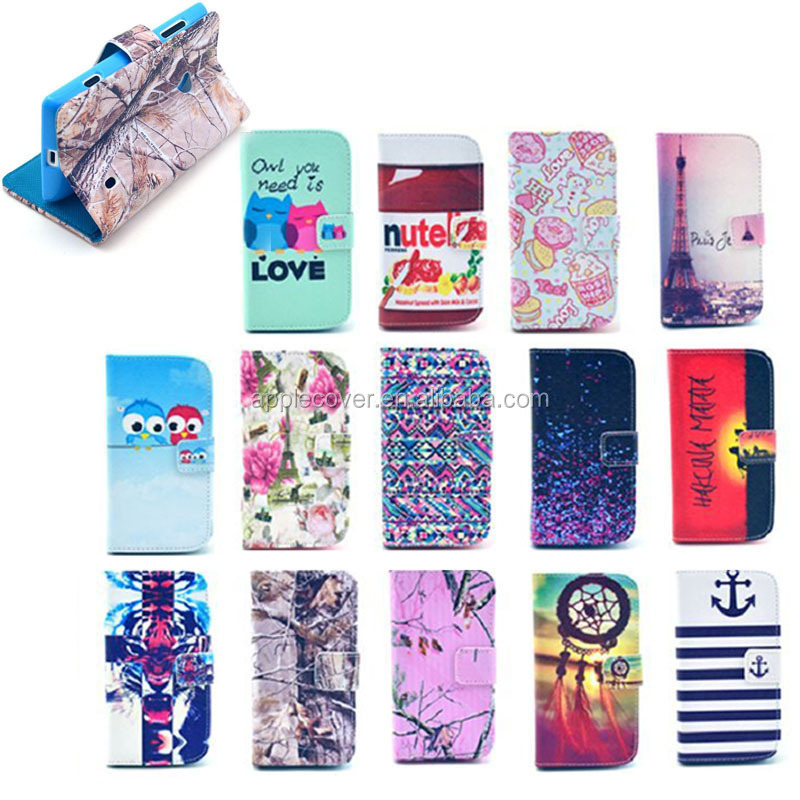 Mix design Leather Wallet cell phone case for Nokia Lumia 520, for Nokia Lumia 520 cover case