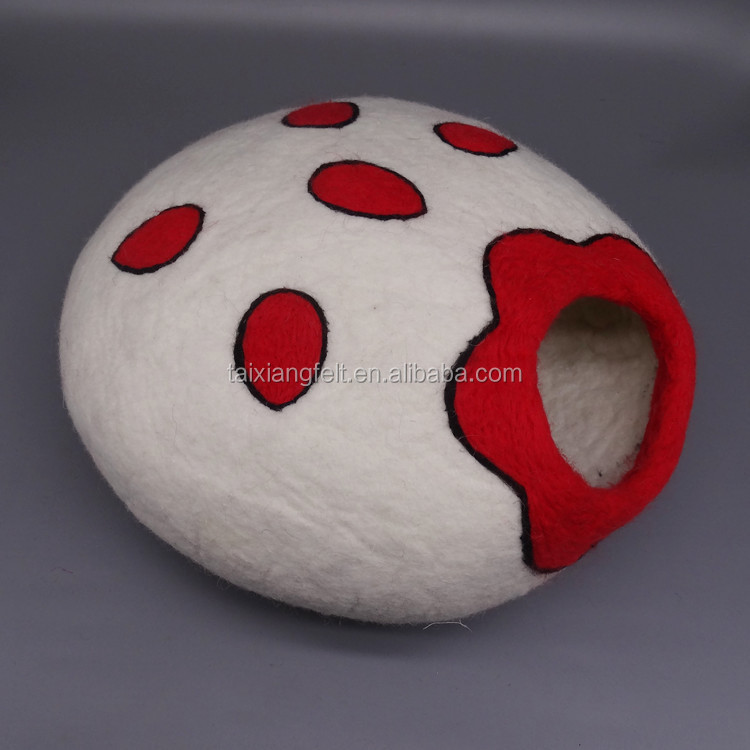 Natural Sheep Wool Hand Felted Cat Bed