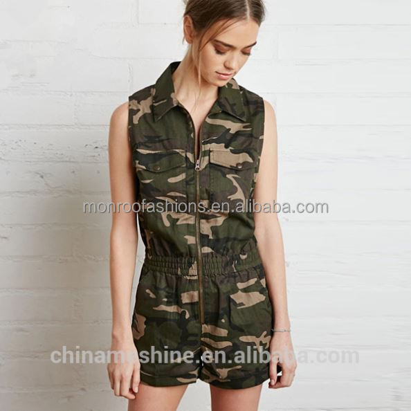 monroo New arrive women camouflage short jumpsuits fashion adult romper pattern