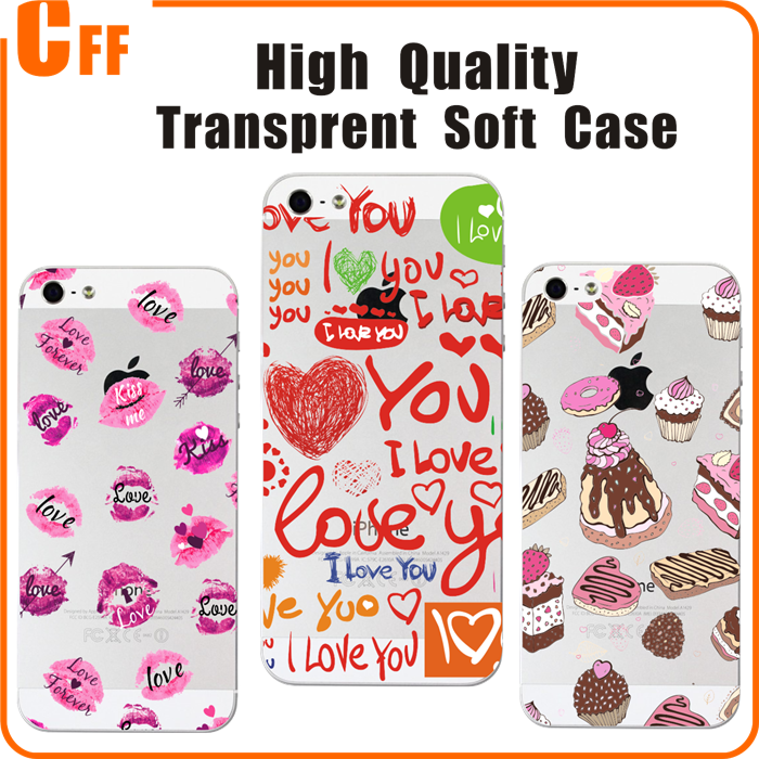 Cute Cartoon High Quality Painted Crystal Clear TPU Soft Case for iPhone 5 5S Phone Case Cover for iphone SE