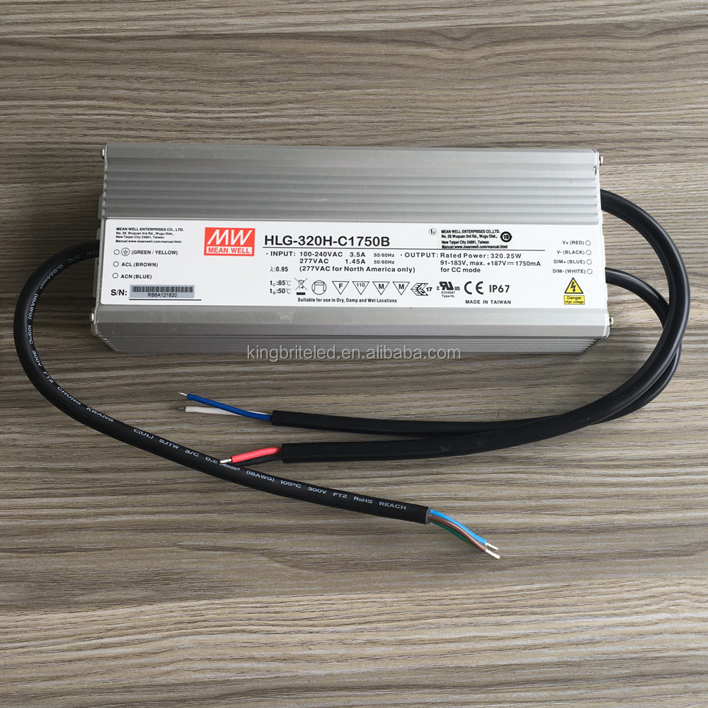 HLG-320H-C1750B, HLG-320H-C1750, HLG-320H-C1750A, Mean Well LED Power Supply HLG-320H-C series