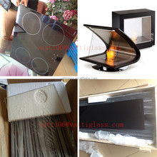 clear Ceramic glass fire resistant glass free standing fireplace glass