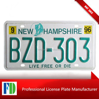 New Hampshire 1996 number plate reflective material License Plate,custom embosed metal plate