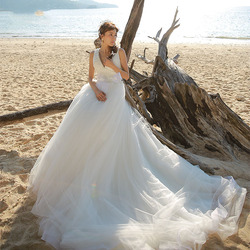 RSM66175 Deep V neckline beach fashion wedding dress sexy low back wedding dress