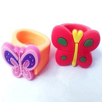 cute cartoon pvc silicone finger rubber ring for kids