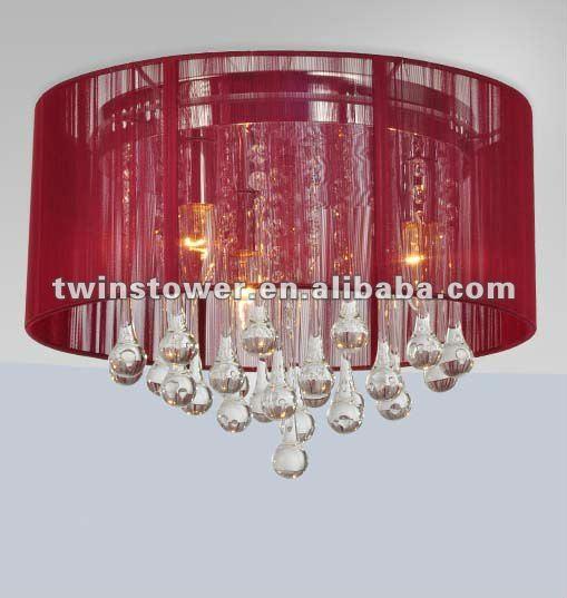 Lampada del soffitto/paralume del tessuto/rotondo di cristallo rossi-Lampadar...