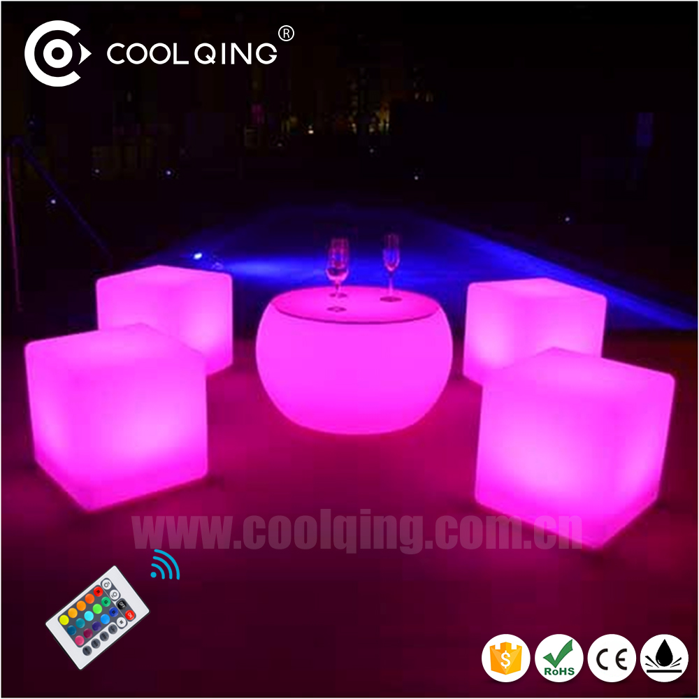 Amazing rechargeable remote control illuminous furniture 40cm led cube chairs