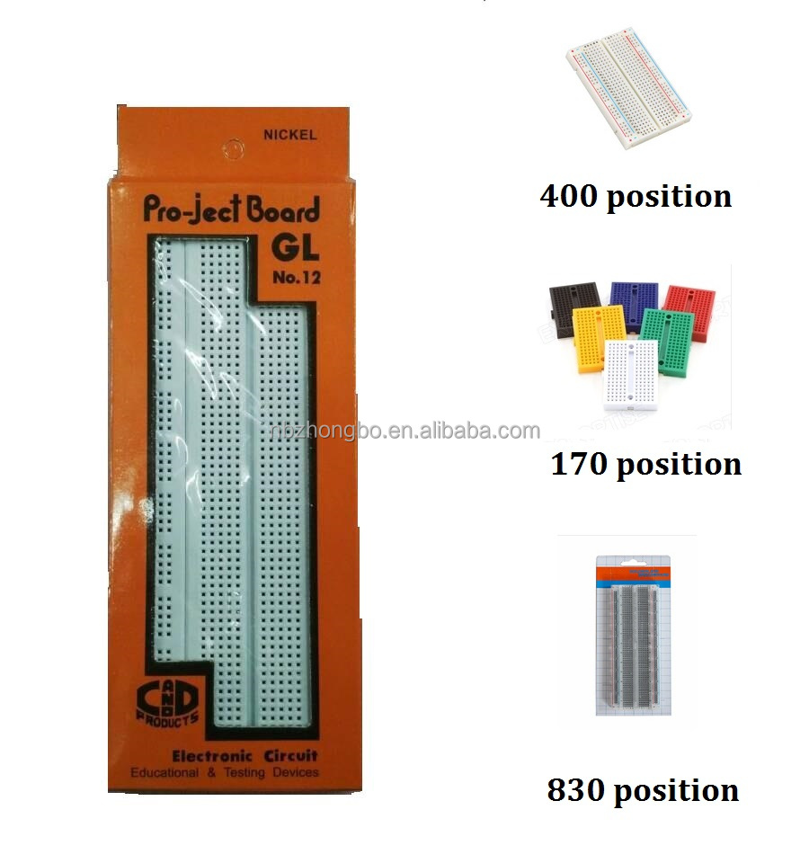 Best quality electronic solderless breadboard 170tie,400tie,830tie,840tie & jumper wire