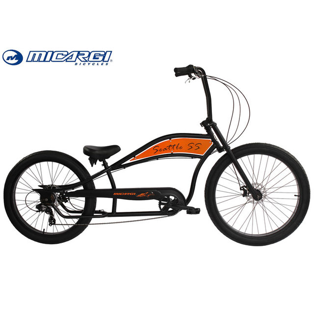 Micargi 26 inch Oversized Fat Tire Bike SEATTLE SS Adult Chopper Bicycle 7 speed