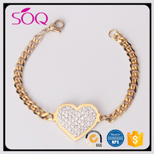 New style hot sale heart shape rhinestones pendant chian jewelry gold crystal charm bracelet for girls