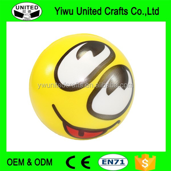 Custom smiley face printed pu stress ball pu foam balls