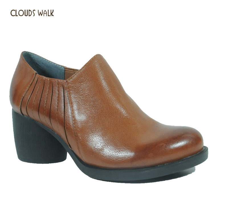 Handmade Ladies Fashion Women Casual Oxfords Leather Ankle Boots Low Heels Italian Women Shoes Wholesale Guangzhou Shoes Market
