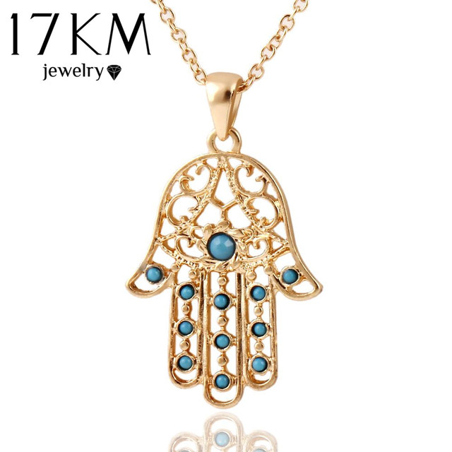 17KM Classic The hand of Fatima hamsa Necklace jewelry Pendants Metal Chain Palm Statement Necklace Fashion for women colar CS13