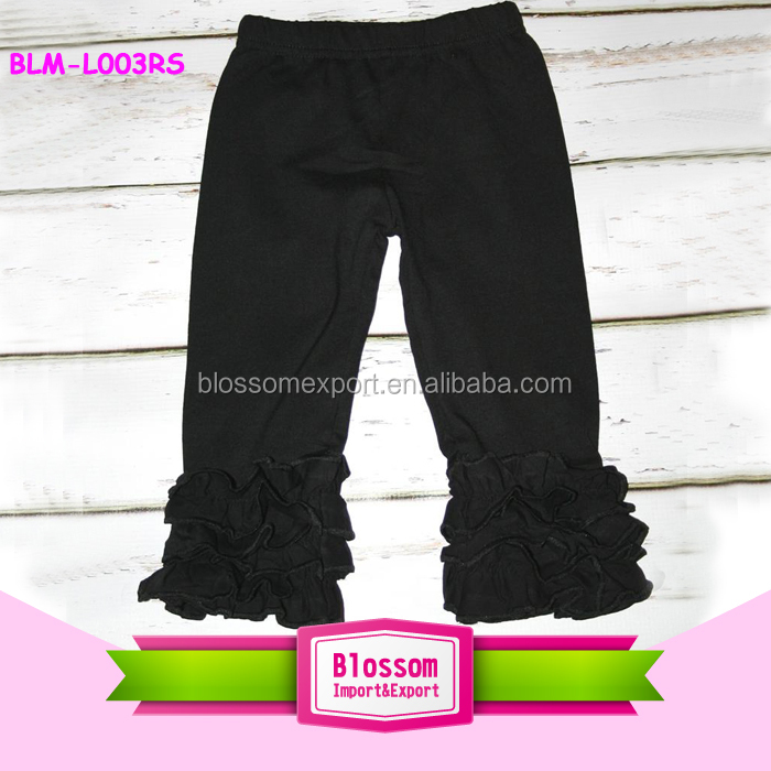 2016 Boutique icing ruffle capris black cotton fancy triple ruffle icing pants girls