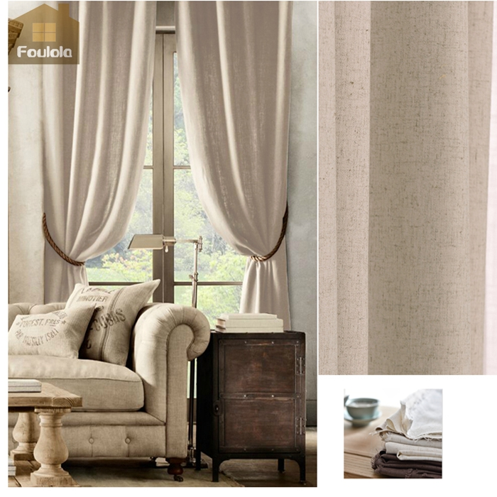Simple natural linen room curtain fabric stock valance curtain patterns