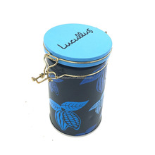 Round airtight tea packaging tin box with metal closure system