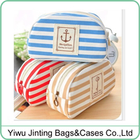 Free shipping 3 colors canvas striped pencil pouch cosmetic pouch with zipper