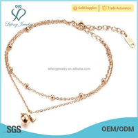 New rose gold beads chain ankle bracelet,titanium steel anklets jewelry for women
