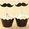 Black mustache cupcake wrappers and toppers pick for wedding decoration