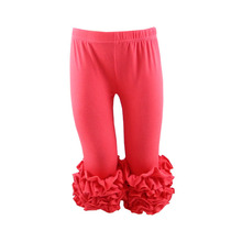 wholesale children girls fashion icing ruffle cotton soft high quality fashion capris pants