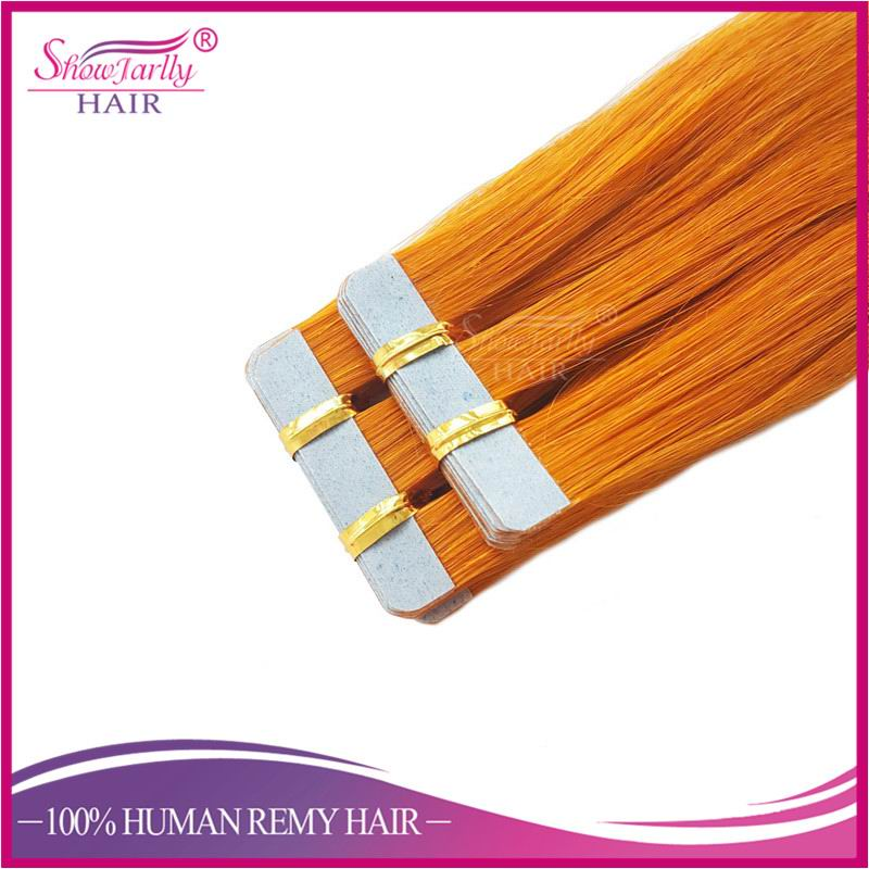 Large Stocks Invisible Tape Hair Extensions Direct Factory Colored Tape Hair Extensions,Orange Color Pu Hair