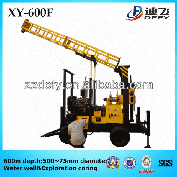 500mm hole diameter 600m deep water well drilling machine with hydraulic mast