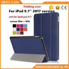 "Slim Magnetic Folding Flip PU Case Flip cover For ipad 9.7"" 2017 Tablet Protective Magnet Smart Cover +film"