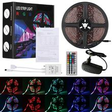 5M 3528 <strong>RGB</strong> 300 Led SMD IP65 Flexible Light Strip Lamp +44 key IR Controller +12V 2A Power Supply