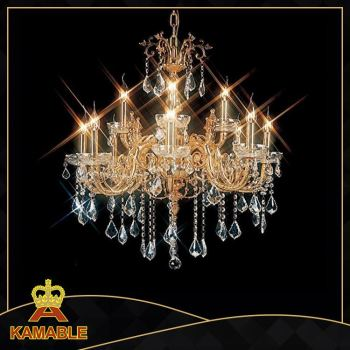 K9 crystal candle chandelier with raindrop crystal