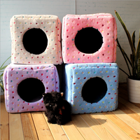 Direct Manufacturer Lovely Square Coral Fleece Dual Purpose Pet House Dog House