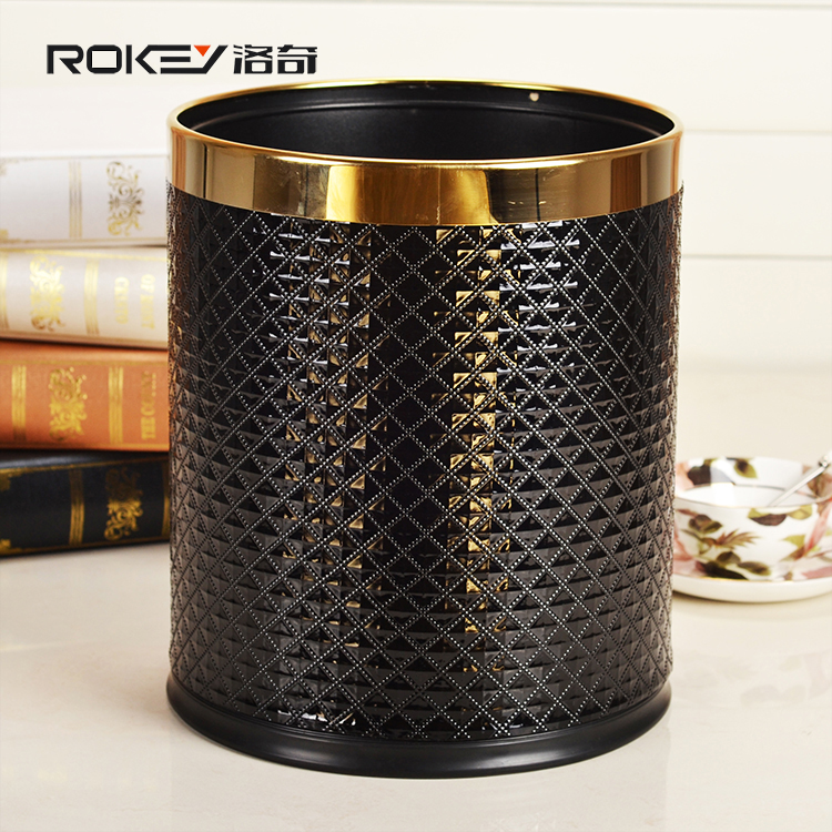2 Layers Leather Cover Stainless Steel Trash Can Garbage Bins Metal <strong>Waste</strong> Bins10L for home office