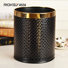 2 Layers Leather Cover Stainless Steel Trash Can Garbage Bins Metal Waste Bins10L for home office