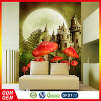 dreamlike red mushroom and castle bedroom vinyl wallpaper for kids