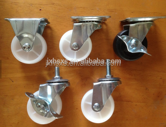 furniture black small rubber fixed casters
