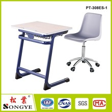 Durable cheap price school furniture student single desk and chair set