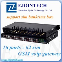 Goip new sim rotation/free SMS Ejointech 16 ports 64 card voip gsm gateway