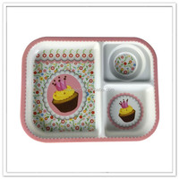 Chinese manufacturer new desgin school or home use tutu cartoon printing melamine 3 compartment plate plastic kids food tray